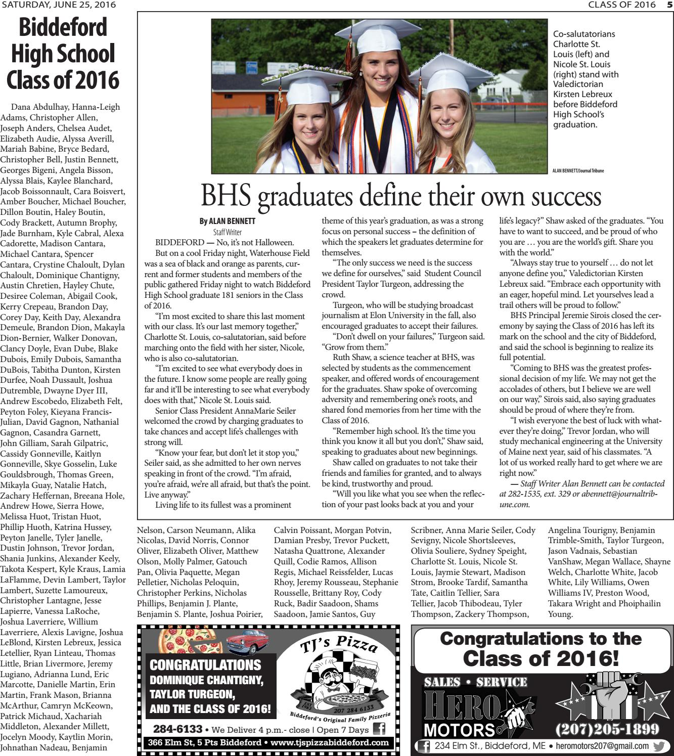 Graduation 2016 By Journal Tribune Issuu
