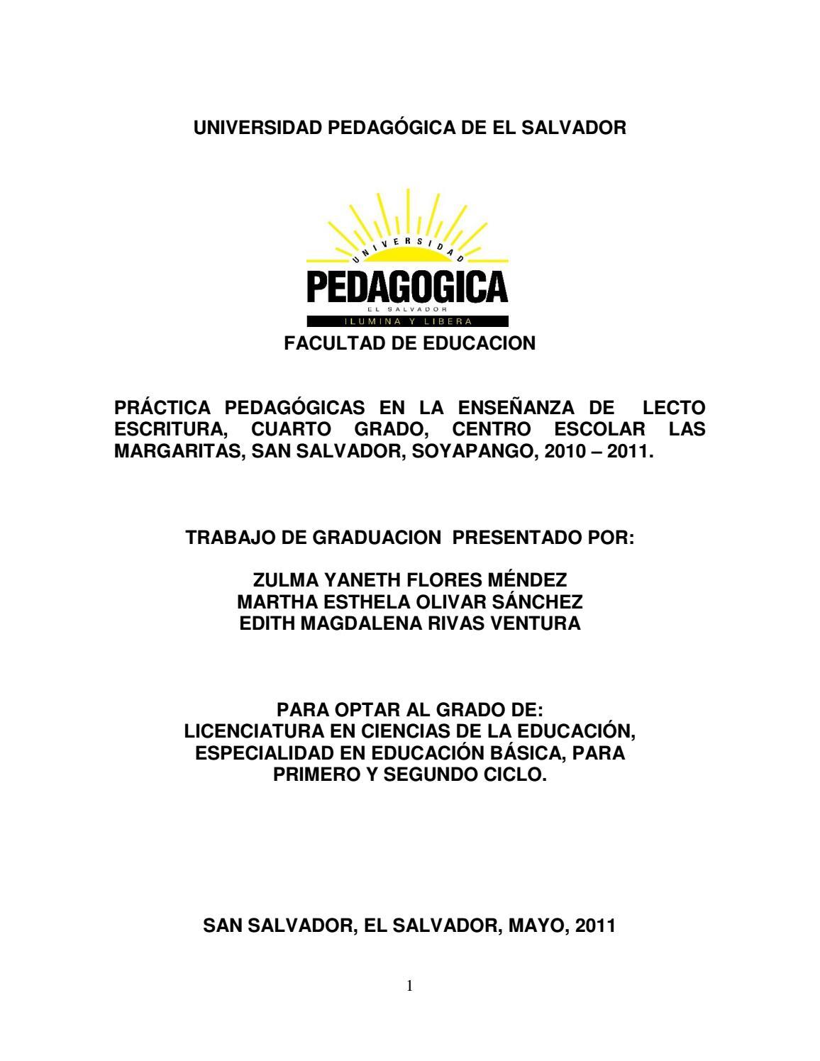 Practica pedagogica en la enseñanza de la lecto escritura by ...
