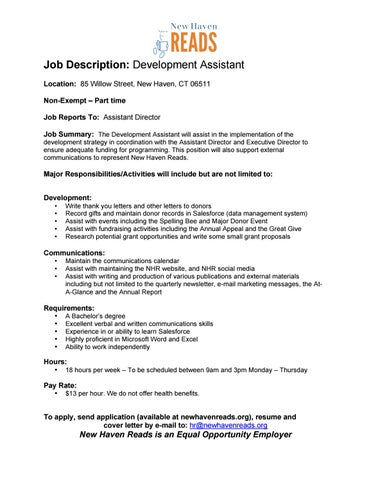 JobDescriptionDevmtAssistantFinal By New Haven Reads  Issuu