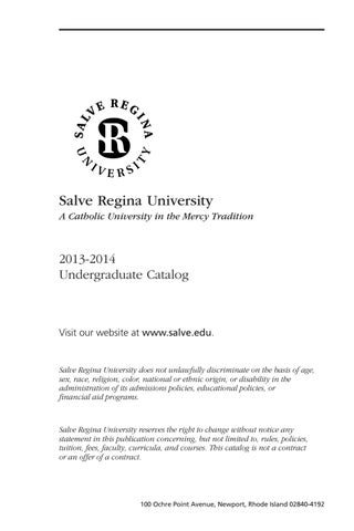 Salve Regina University Undergraduate Catalog 2013 2014 By Mckillop Library Salve Regina University Issuu