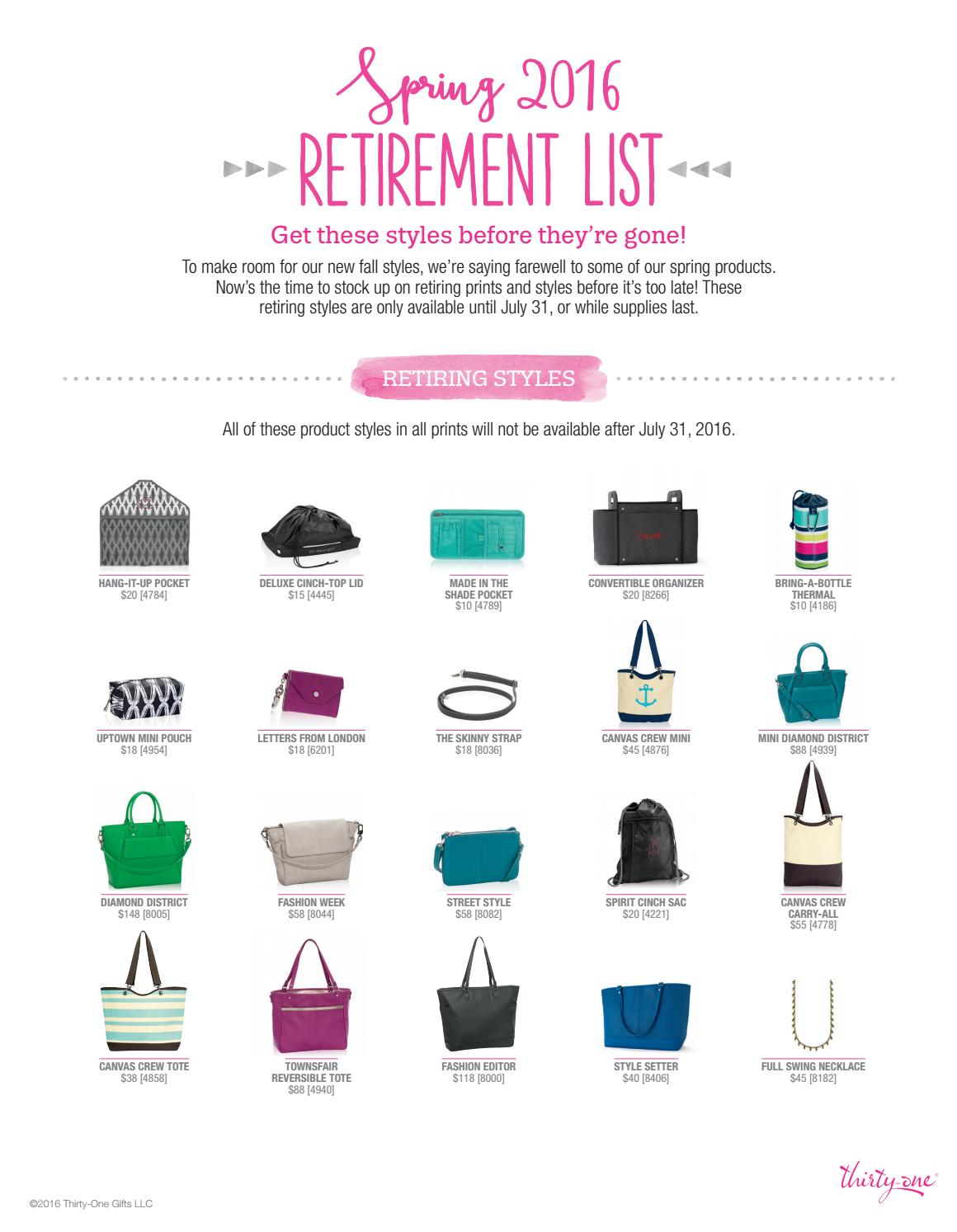 1548604a8ce7 Thirty-One Spring/Summer 2016 Retirement List by Amy Wilson ...