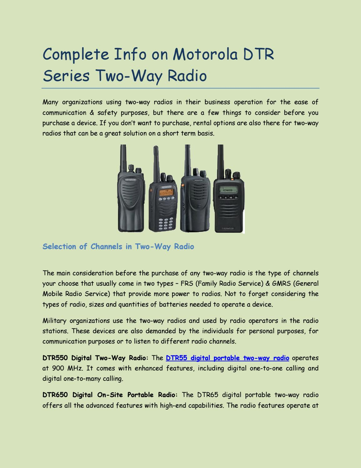 Complete Info on Motorola DTR Series Two-Way Radio by Steven Smith