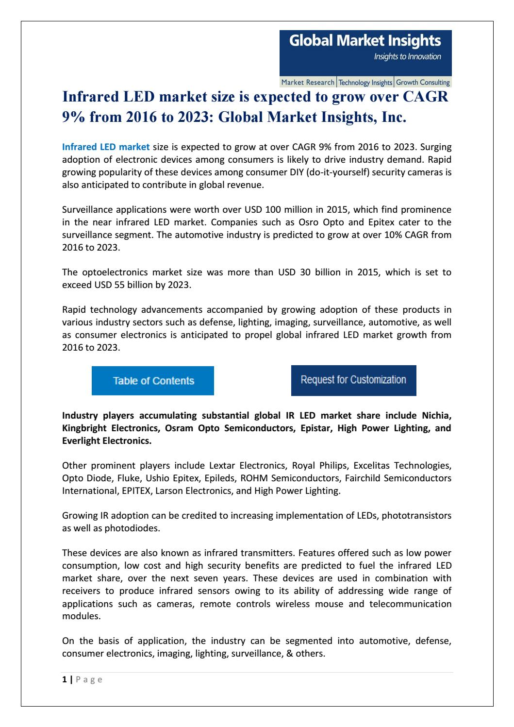 Infrared led market research pdf by Global Market Insights Inc  - issuu