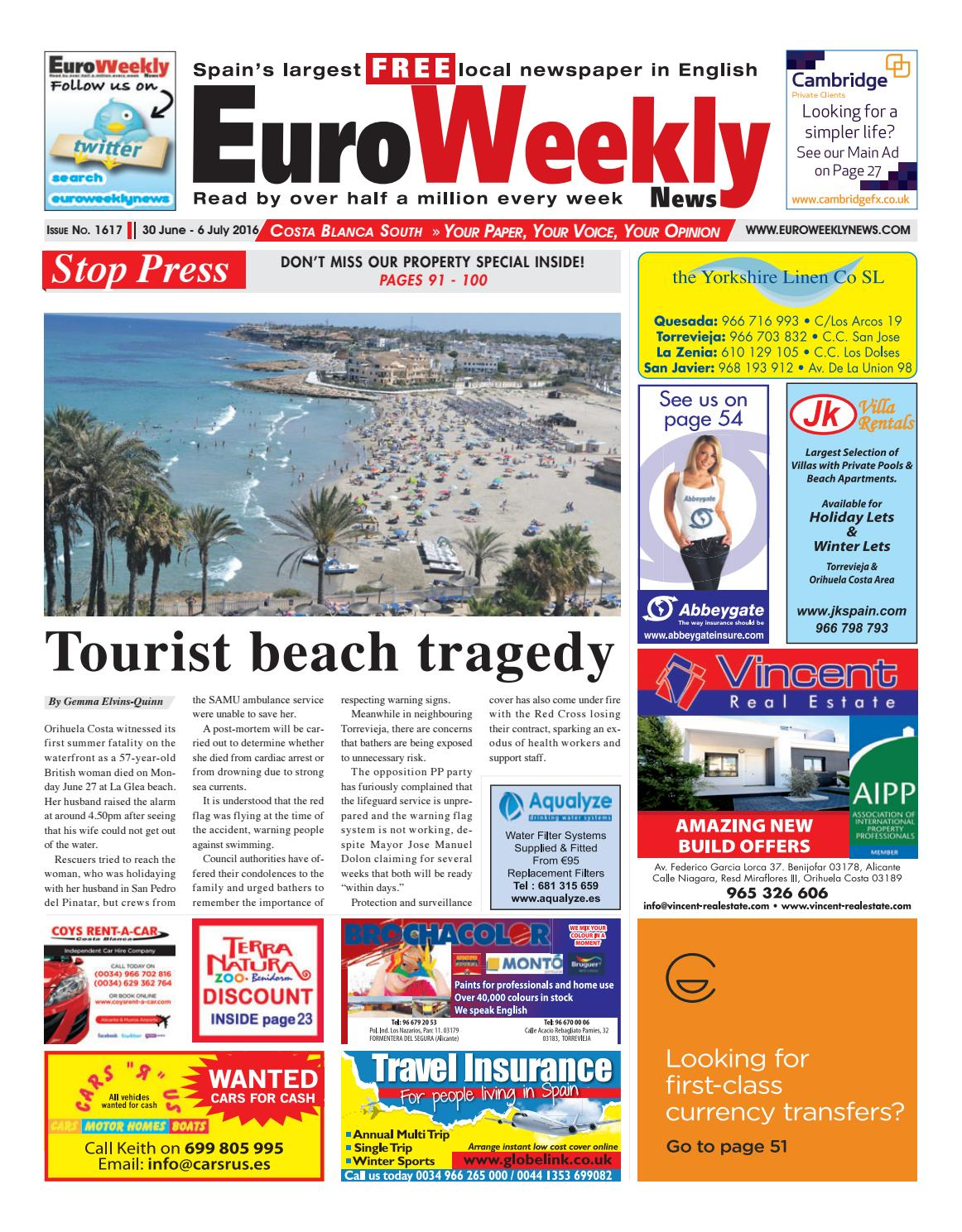 Euro Weekly News Costa Blanca South 30 June 6 July 2016 Issue  # Muebles Nemesis Bahia Blanca