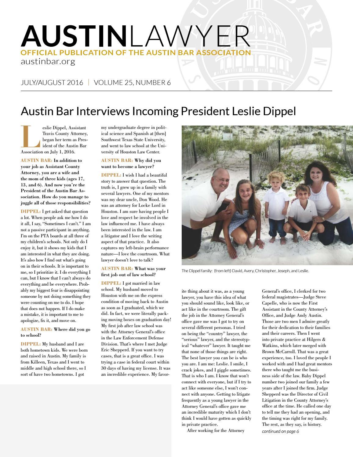 Austin Lawyer, July/August 2016 by Austin Bar Association
