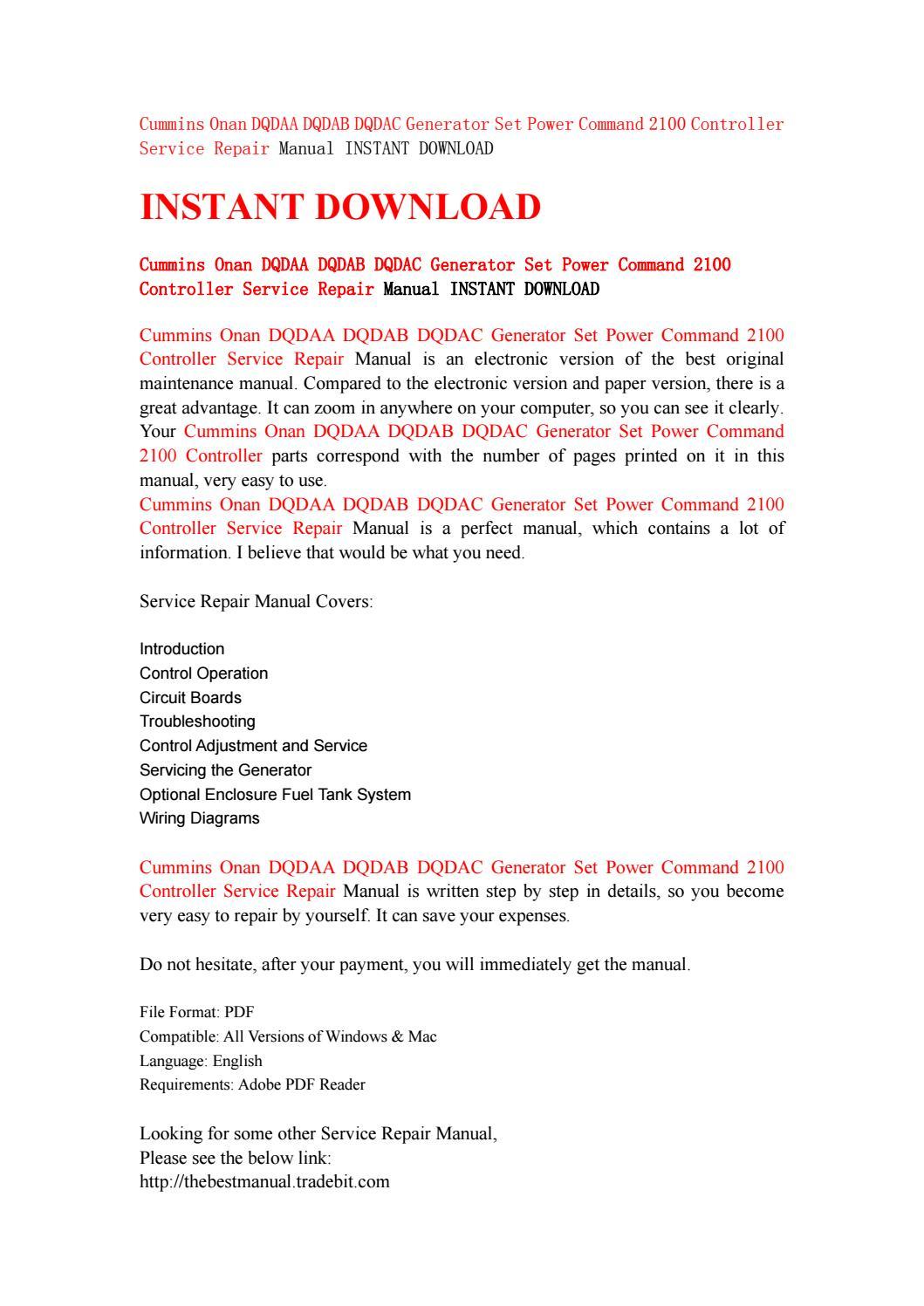 Cummins onan dqdaa dqdab dqdac generator set power command 2100 controller  service repair manual ins by jhsefnhse76 - issuu
