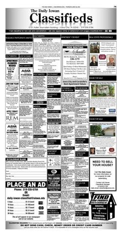 The Daily Iowan - 06/30/16 Classifieds by The Daily Iowan
