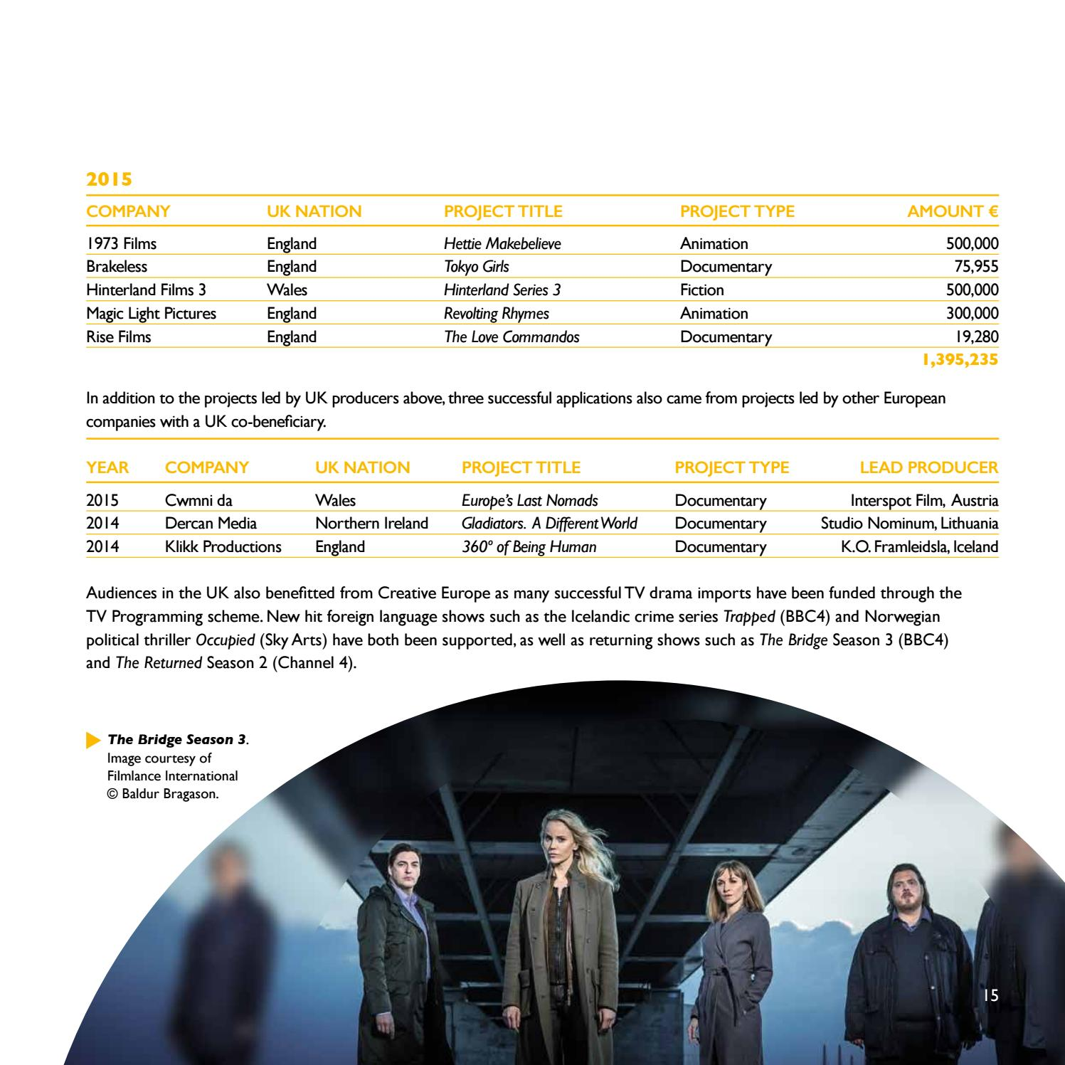 Creative Europe in the UK - 2014-15 - MEDIA sub-programme report by