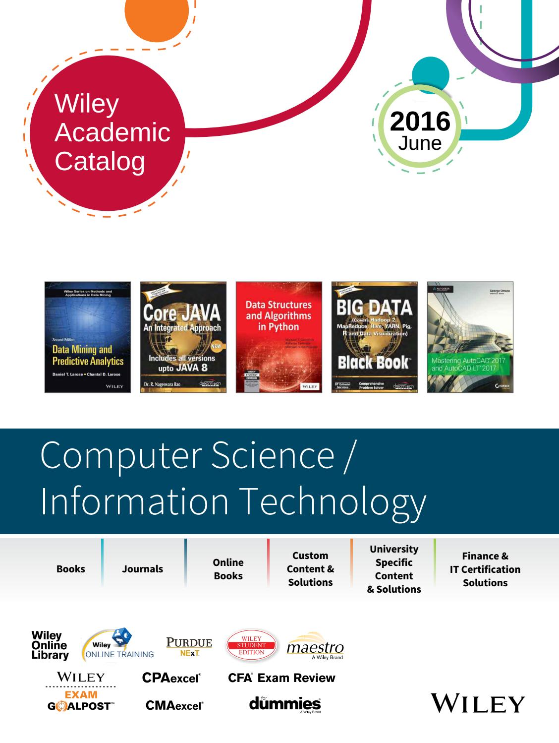 Wiley Academic Catalog Computer Science Information Technology June 2016 By Wiley India Issuu