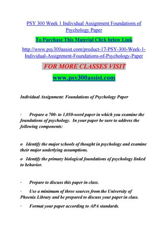 identify the primary biological foundations of psychology linked to behavior Identify the primary biological foundations of psychology linked to behavior format your paper according to apa standards prepare a 700 to 1,050-word paper in which you examine the foundations of psychology.
