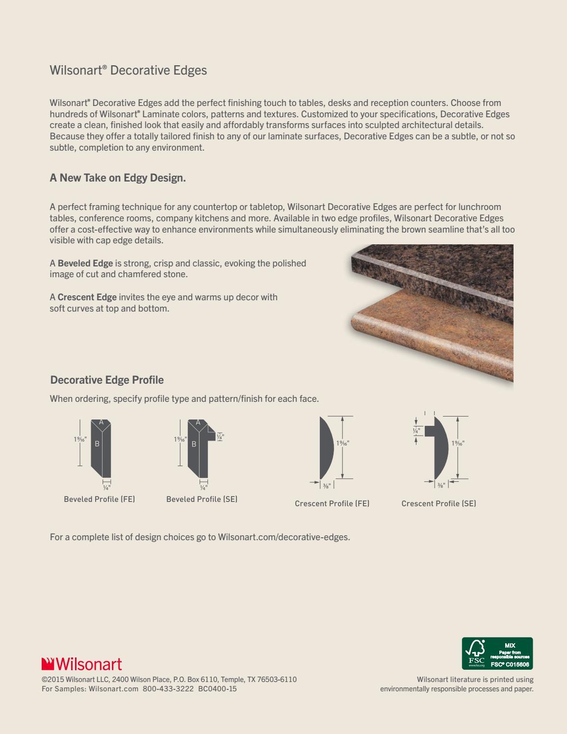 Wilsonart Decorative Edges Brochure By