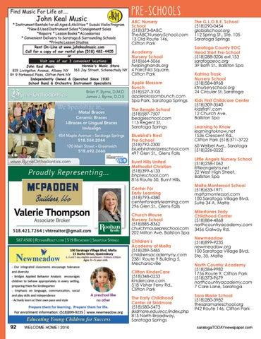 Pre Schools Abc Nursery School 518 373 8abc Theabcnurseryschool 13 Old Route 146 Clifton Park Academy Welcome Home 2016 2017 By Saratoga Publishing Issuu