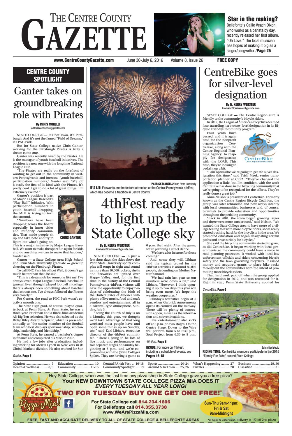 Centre County Gazette, June 30, 2016 by Indiana Printing & Publishing -  issuu