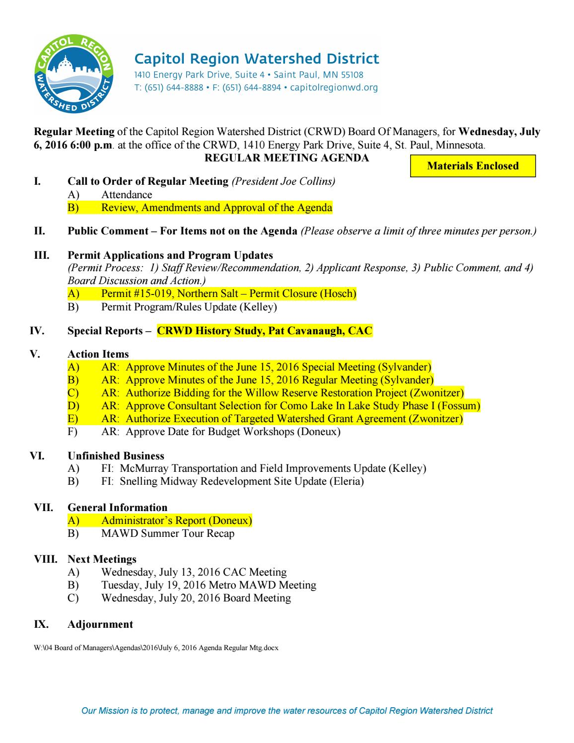 July 6, 2016 board of managers meeting packet