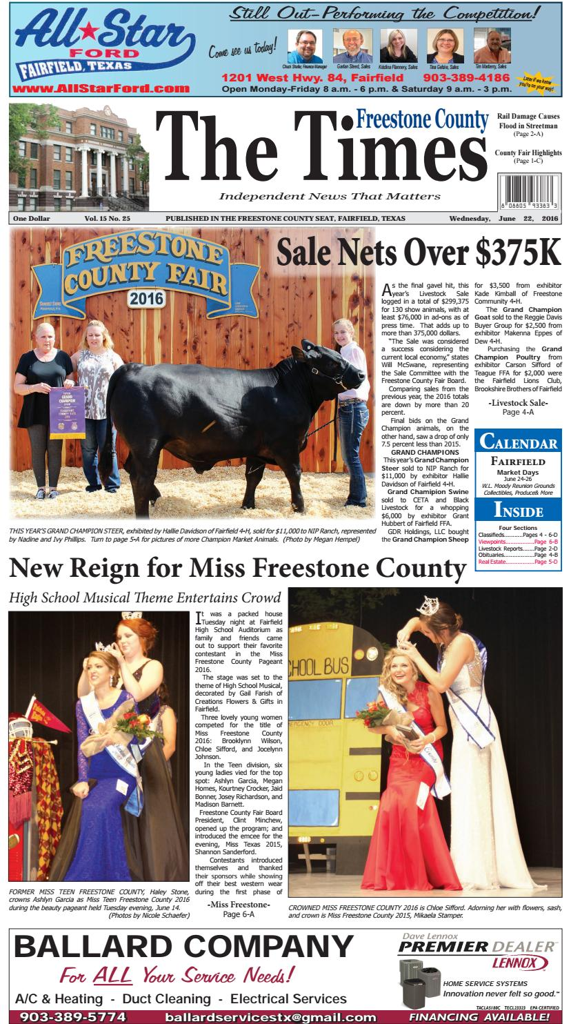 Freestonecountytimes062216 By Karen Leidy