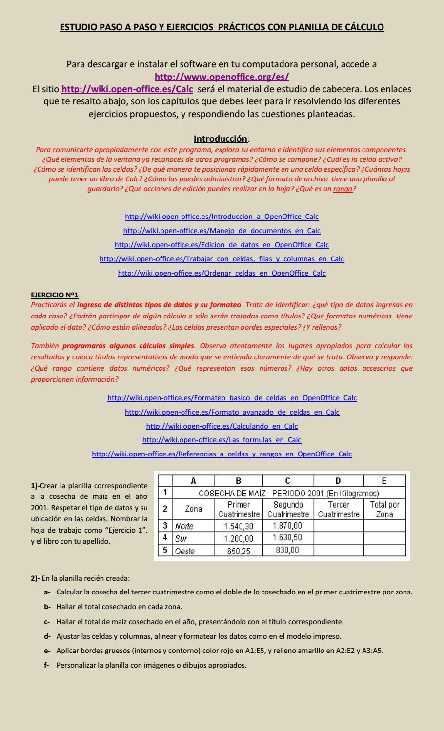 Calc guia y ejercitación de planilla de cálculo ejer 1 by