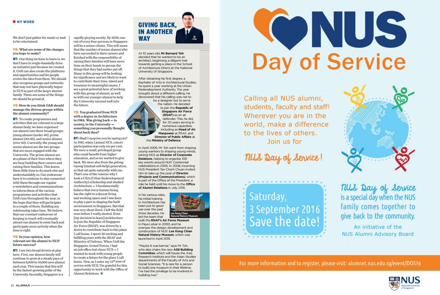 AlumNUS July - Sep 2016 by NUS Alumni Office - issuu