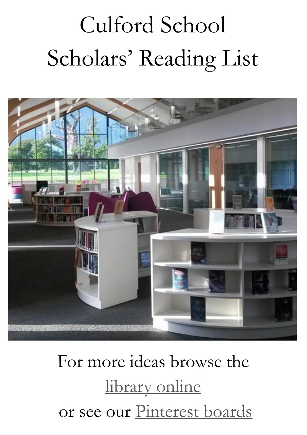 Scholars Reading List By Culford Library