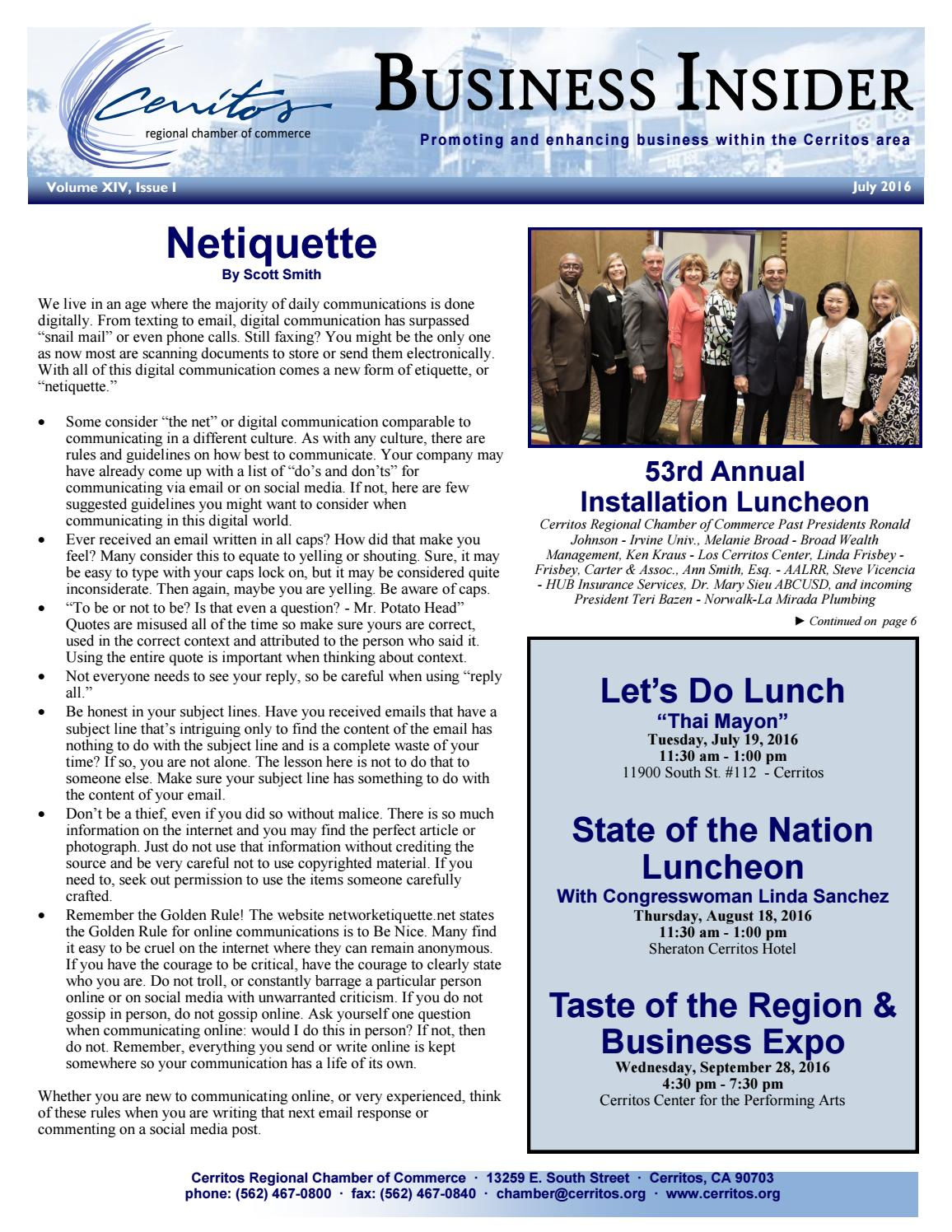 july 2016 cerritos business insider newsletter by cerritos regional chamber of commerce issuu issuu