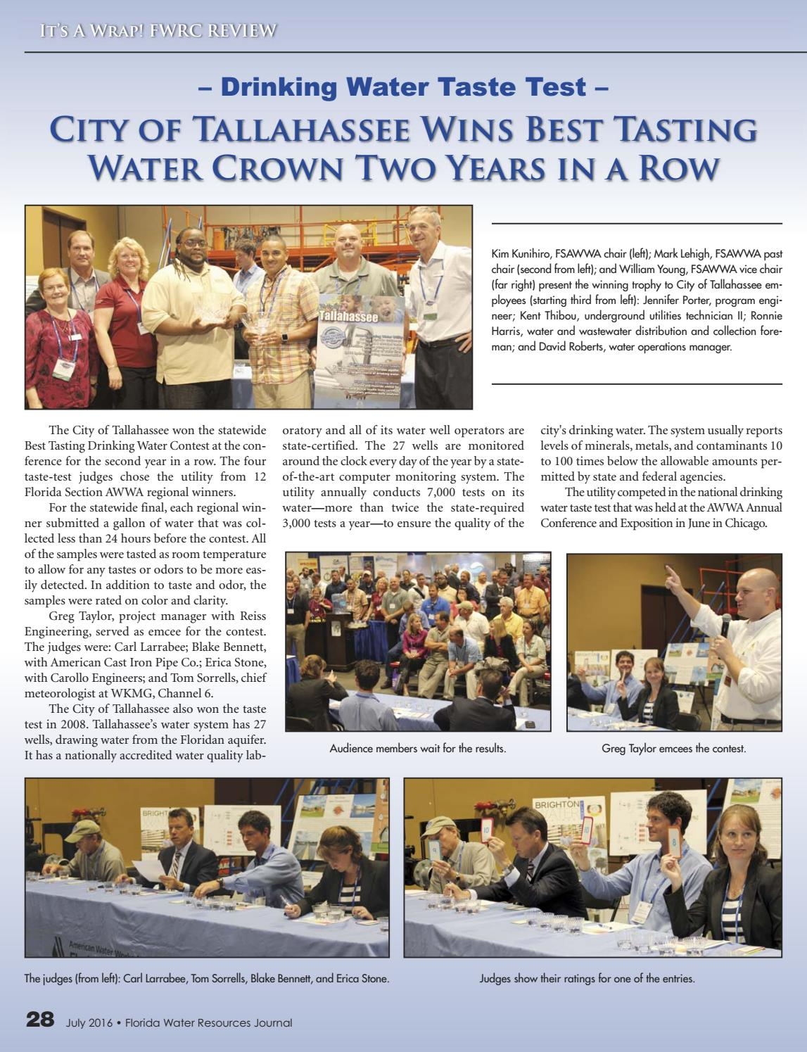 City Of Tallahassee Utility Florida Water Resources Journal July 2016 By Florida Water
