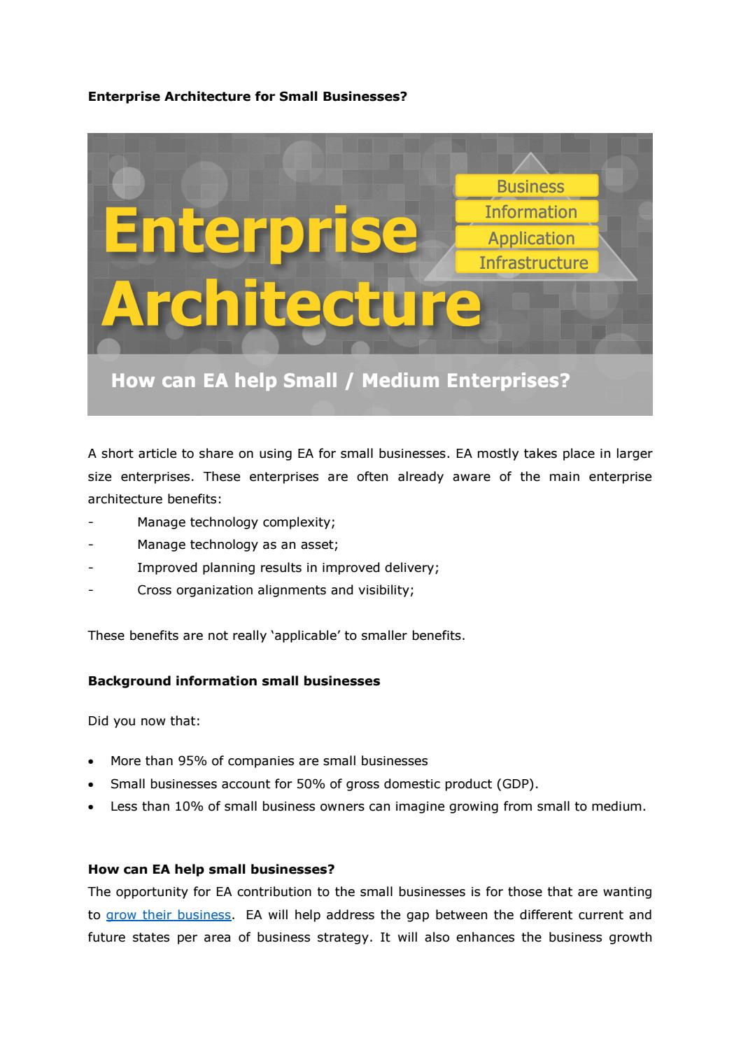 Enterprise Architecture For Small Businesses By Eacomposer   Issuu