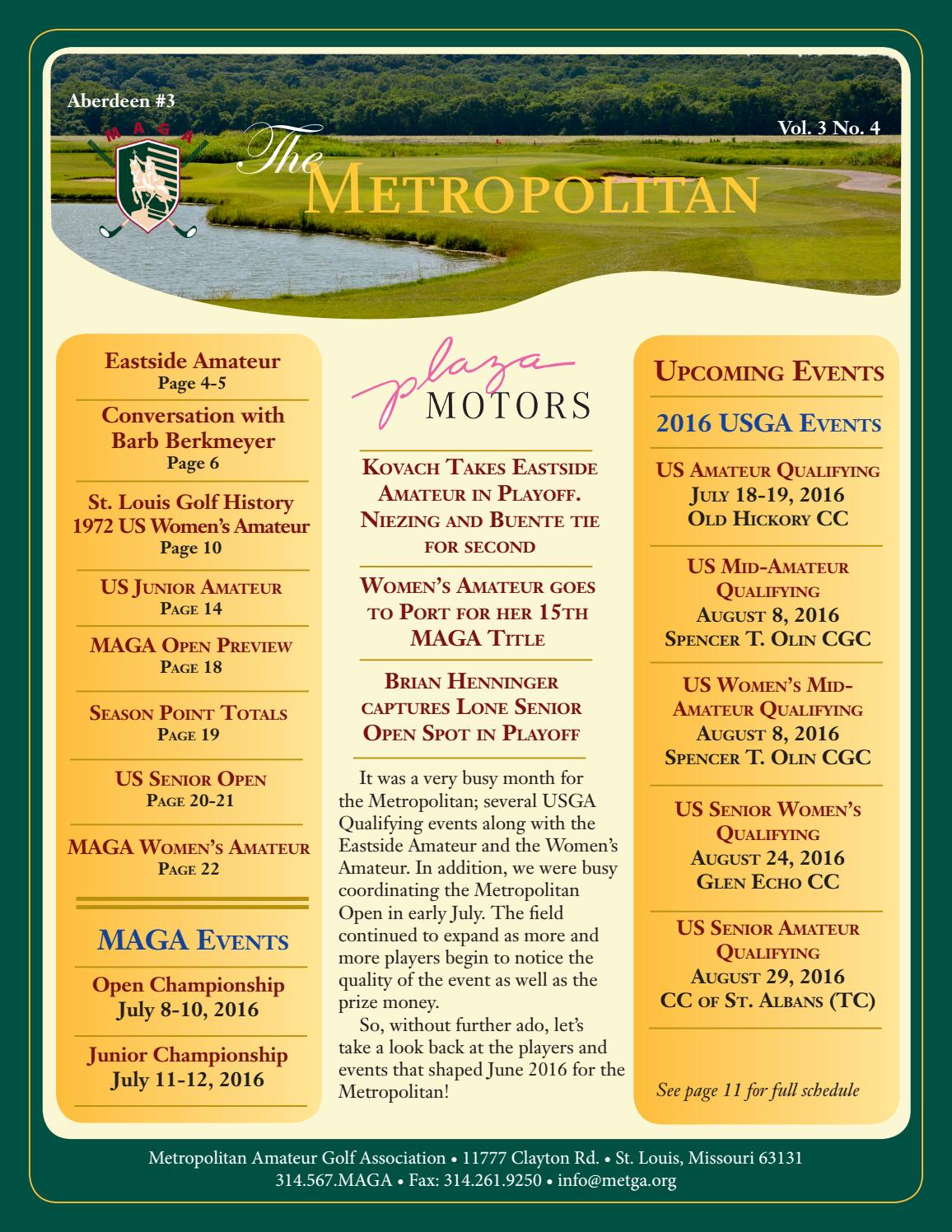 Metropolitan Amateur Golf Association June 2016 Newsletter