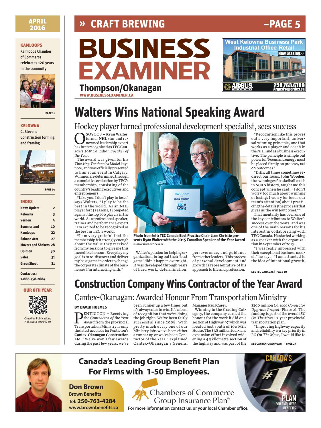 Business Examiner Thompson/Okanagan - April 2016 by Business