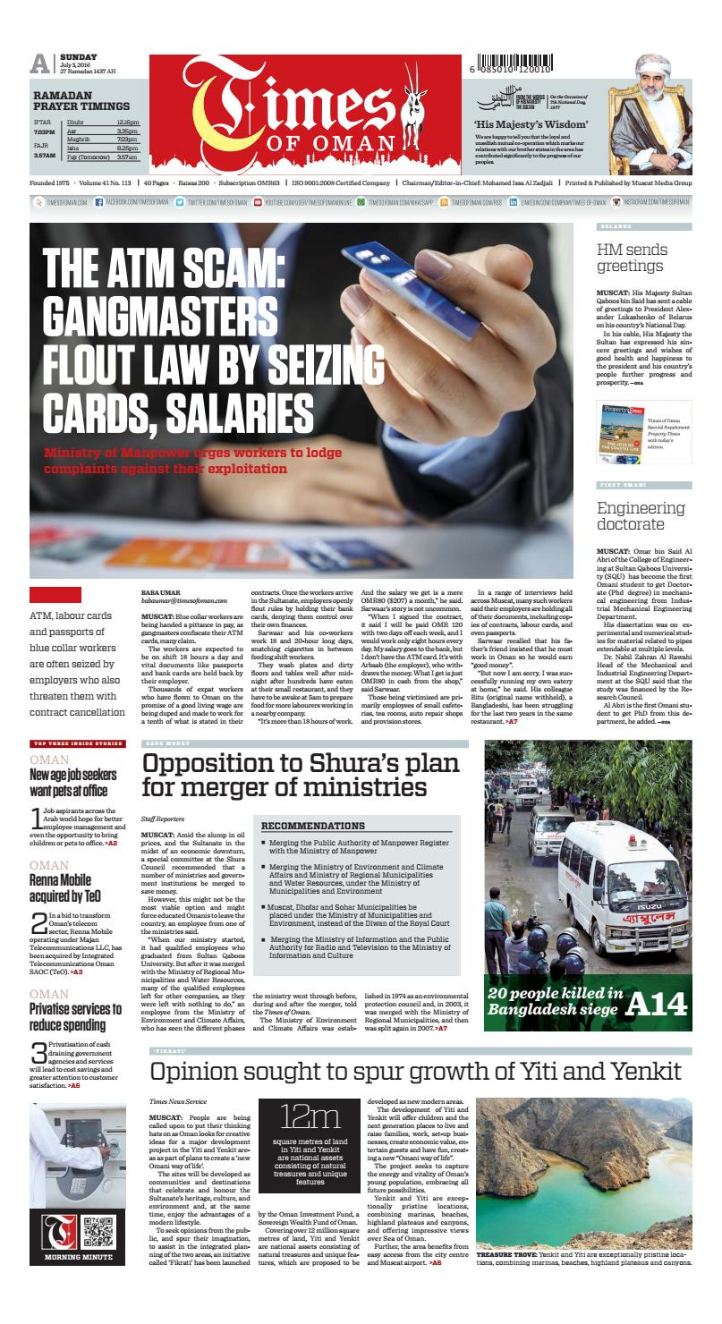 Times of Oman - July 3, 2016 by Muscat Media Group - issuu