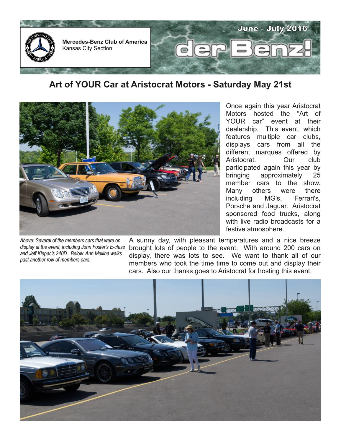 Mbca kc der benz newsletter june july 2016 by john ryan for Mercedes benz of kansas city aristocrat