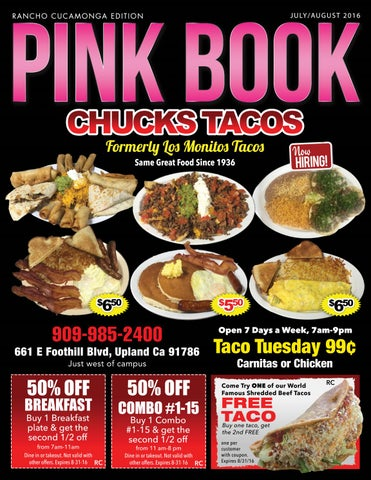 Julyaugust 2016 pink book rancho cucamonga edition by 909 magazine pink book chucks tacos formerly ll monitt tacc same great food since 1936 fandeluxe Image collections