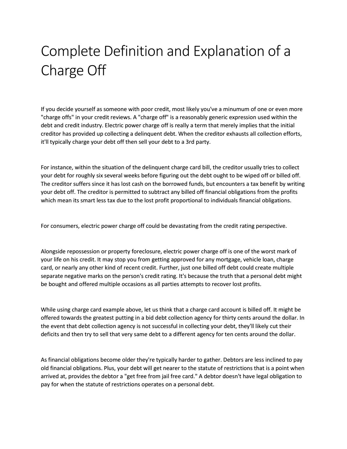 complete definition and explanation of a charge off by nadia javaid