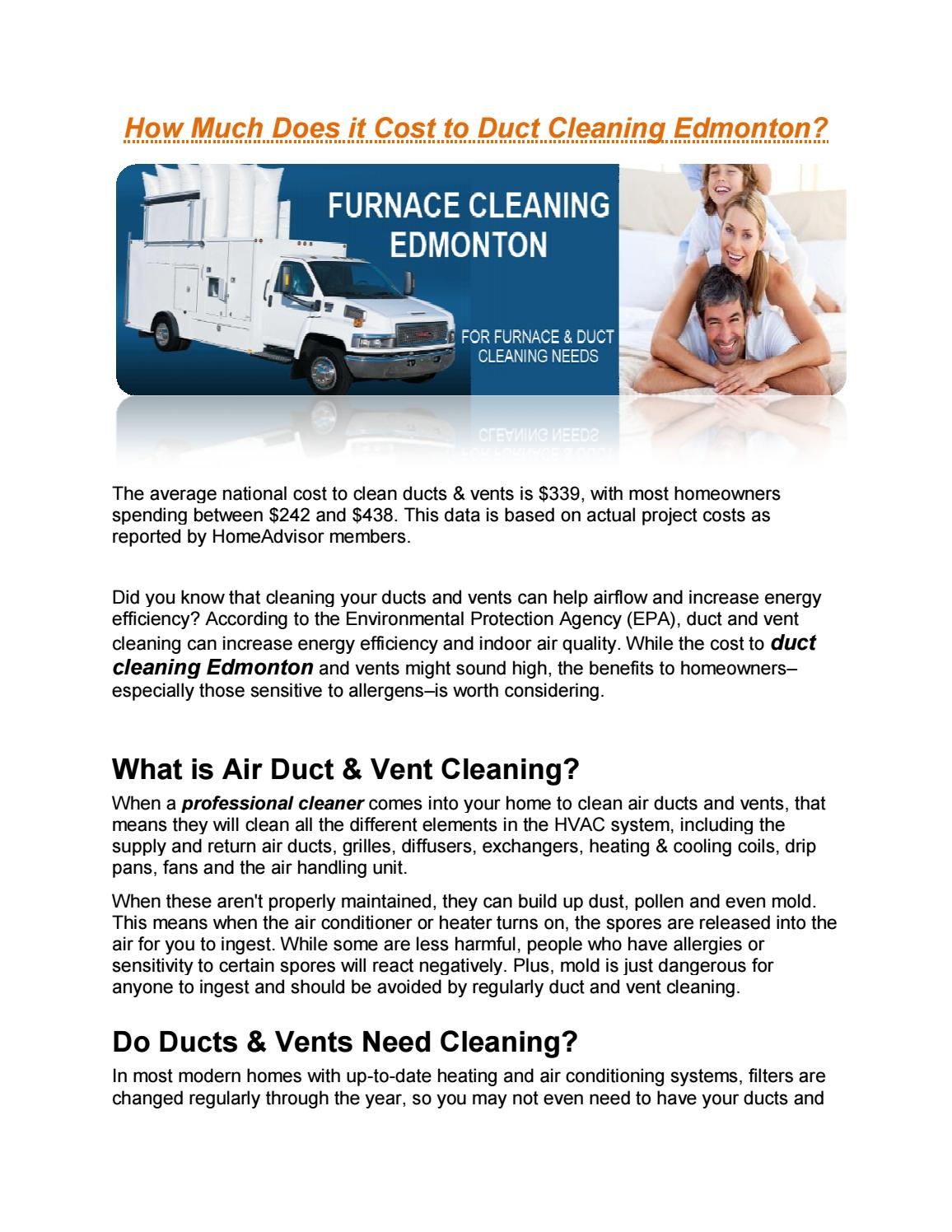 How Much Does It Cost To Duct Cleaning Edmonton By