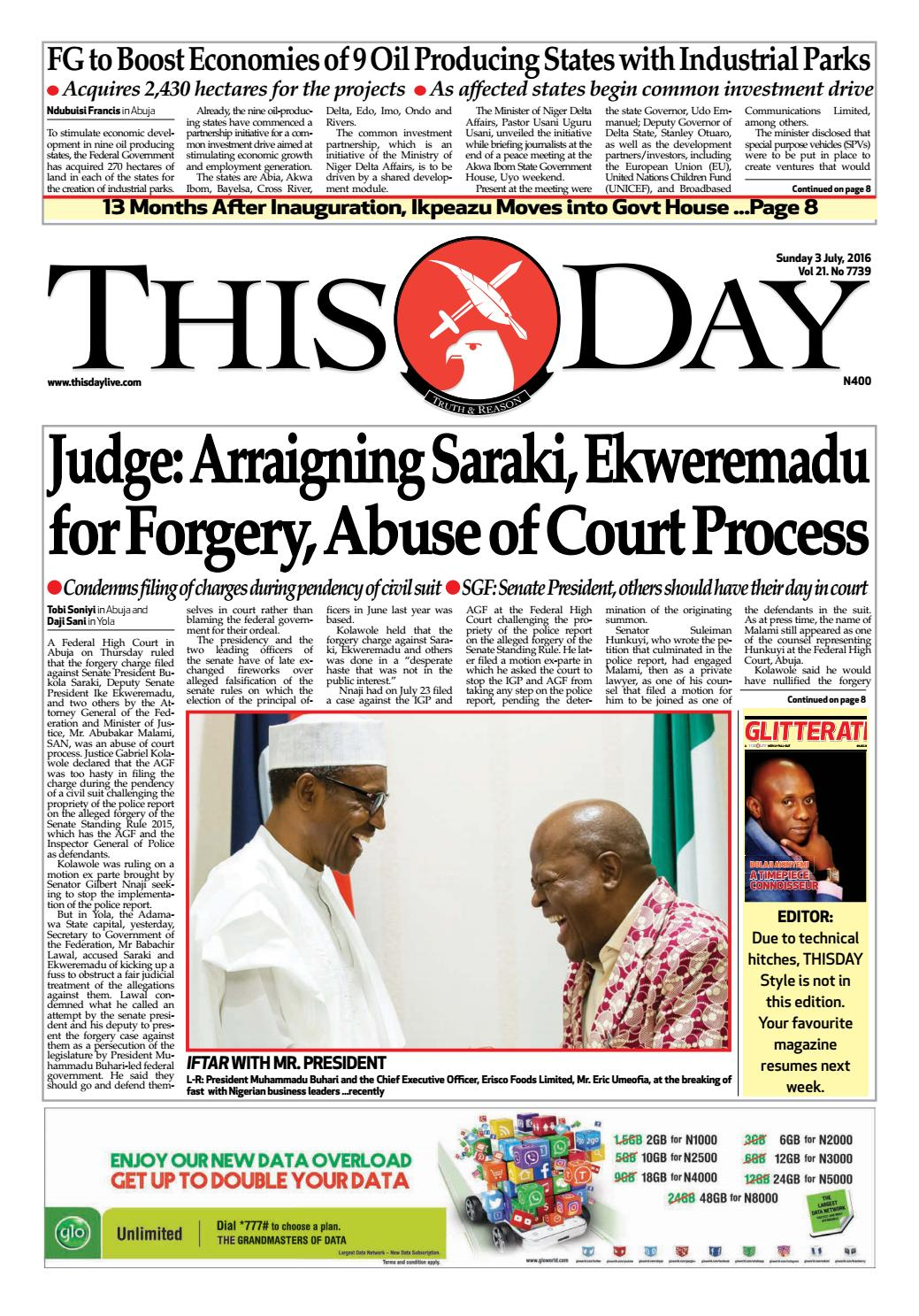 Sunday 3rd July 2016 by THISDAY Newspapers Ltd - issuu