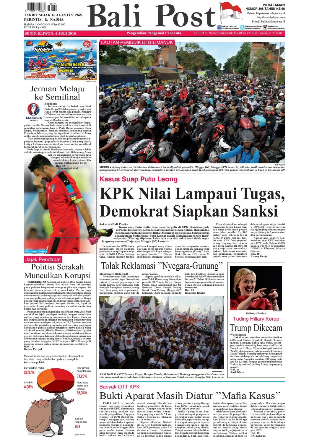 Edisi 4 Juli 2016 Balipostcom By E Paper Kmb Issuu Prom Open Trip Pulau Pari Part Tgl 7 8 2018