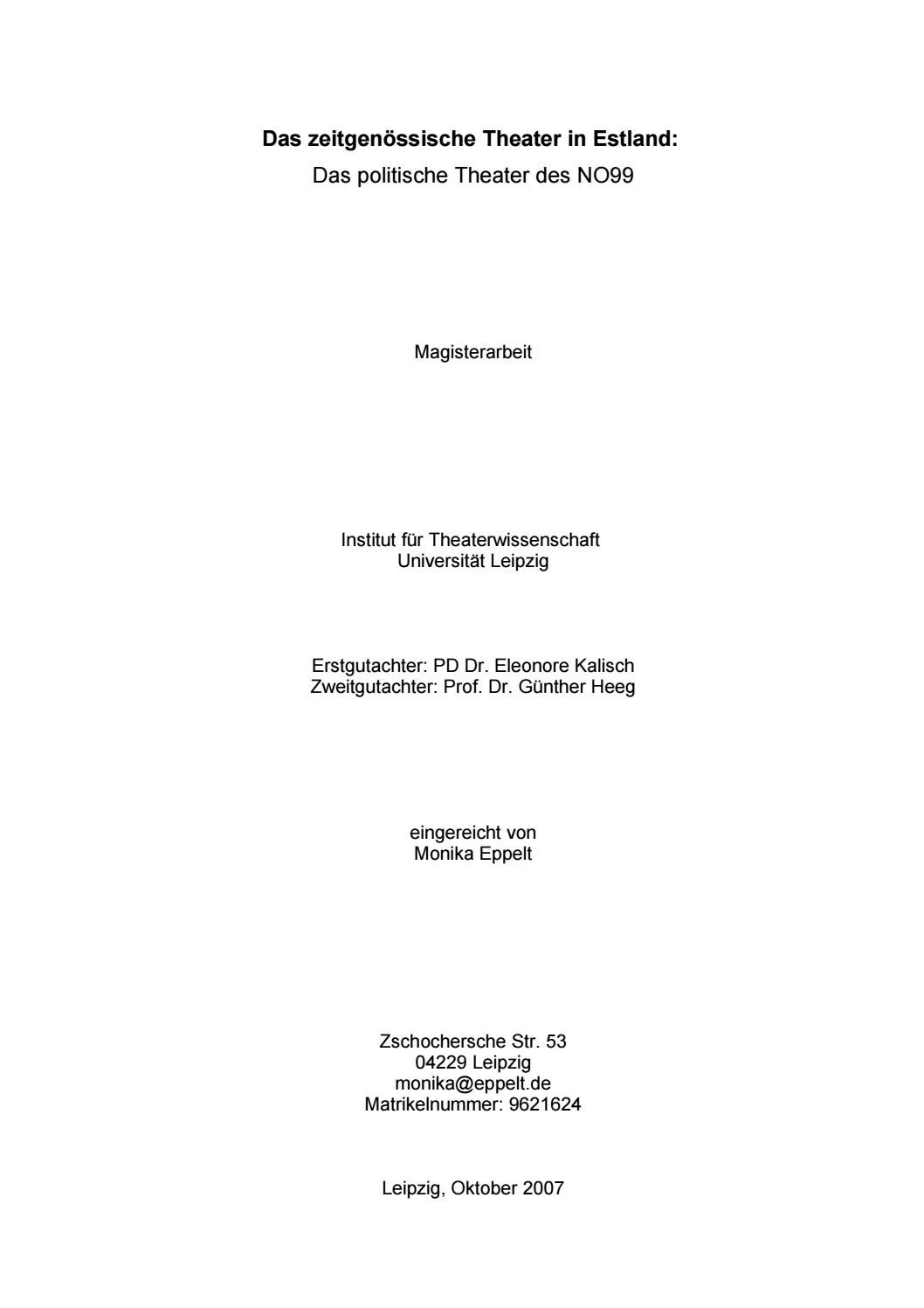 Magisterarbeit by Teater NO99 - issuu