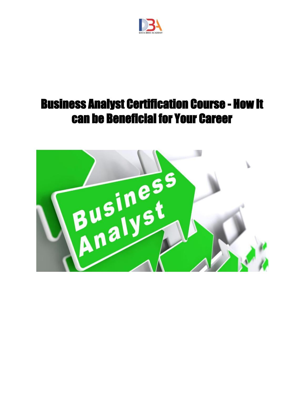 Business Analyst Certification Course By Data Brio Academy Issuu
