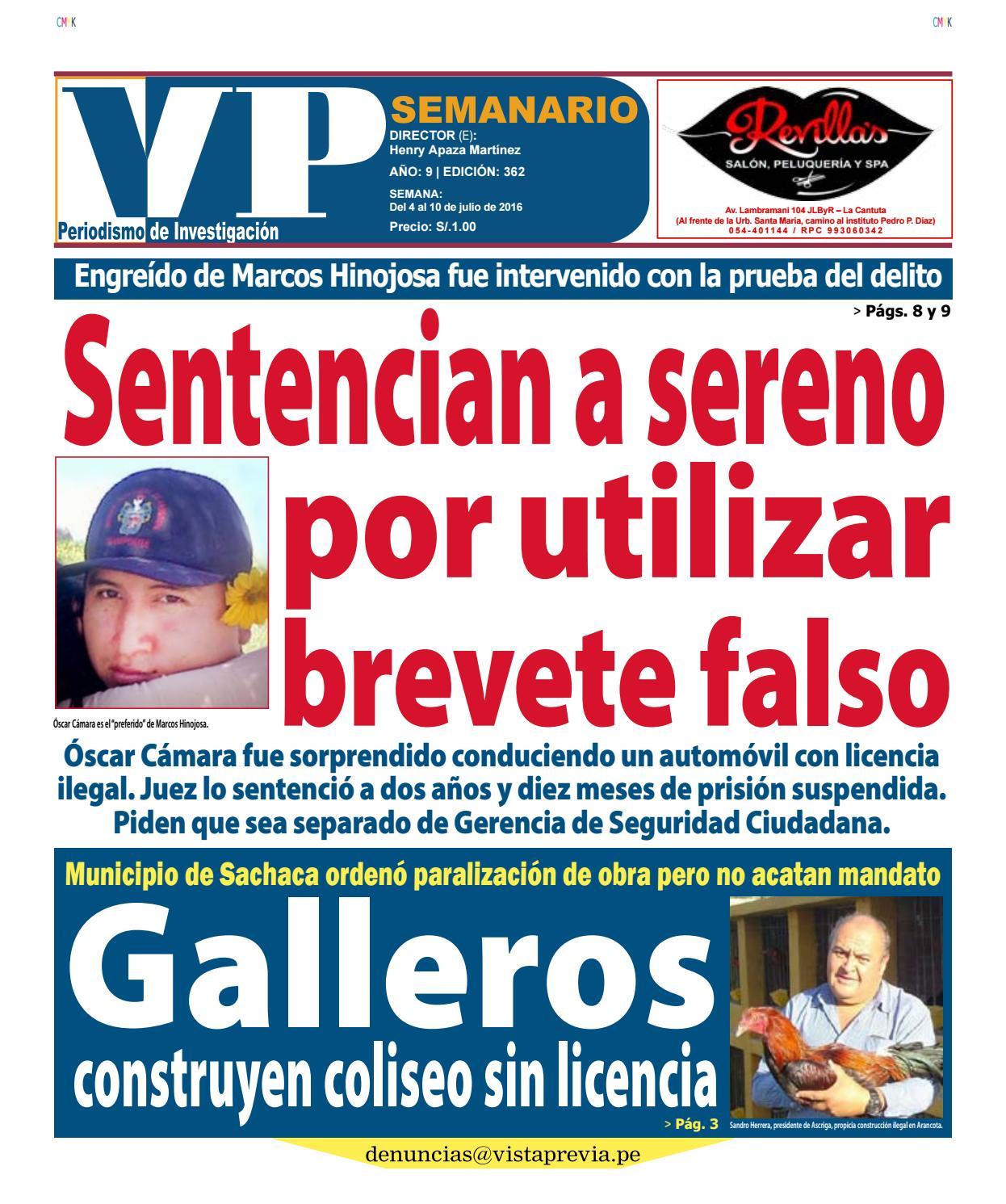 Sentencian a sereno por utilizar brevete falso by VP SEMANARIO - issuu