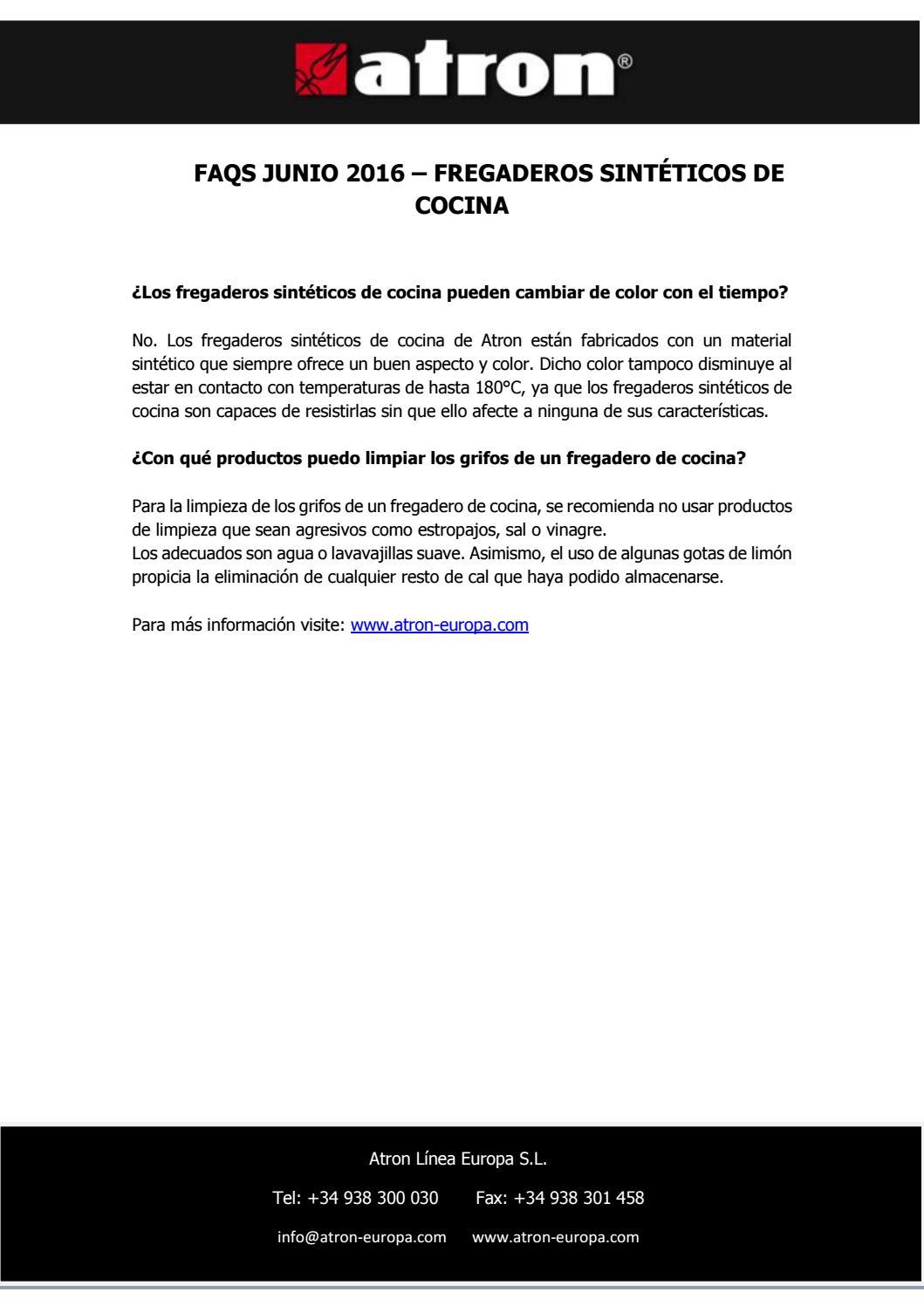 Faqs junio fregaderos sint ticos de cocina by atron fregaderos issuu - Fregaderos atron ...