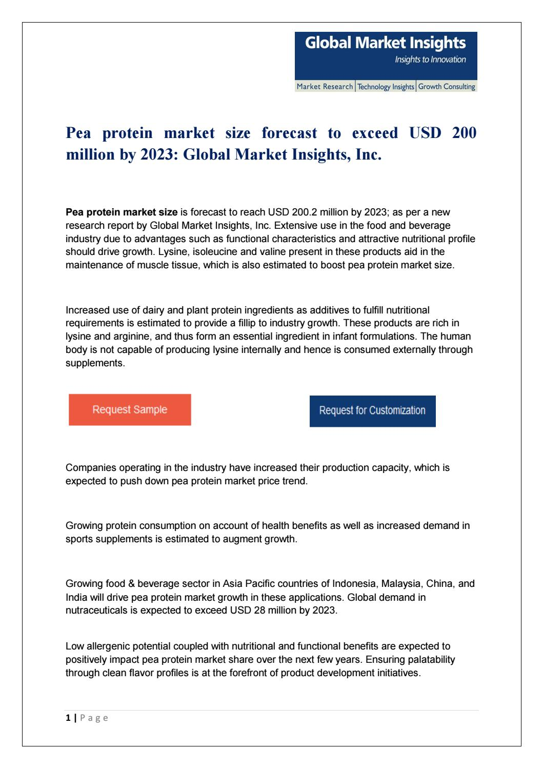 PDF for Pea Protein Market: Global Market Insights, Inc  by
