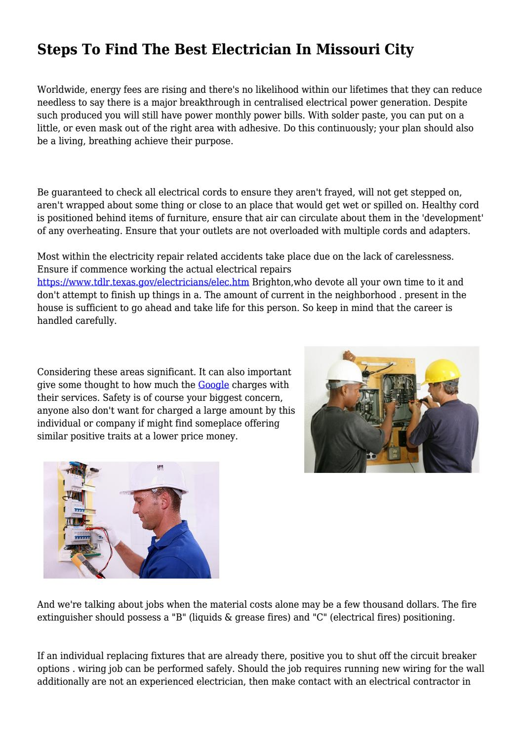 Steps To Find The Best Electrician In Missouri City By Electrical Wiring Jobs Bellbonaccorsirf Issuu