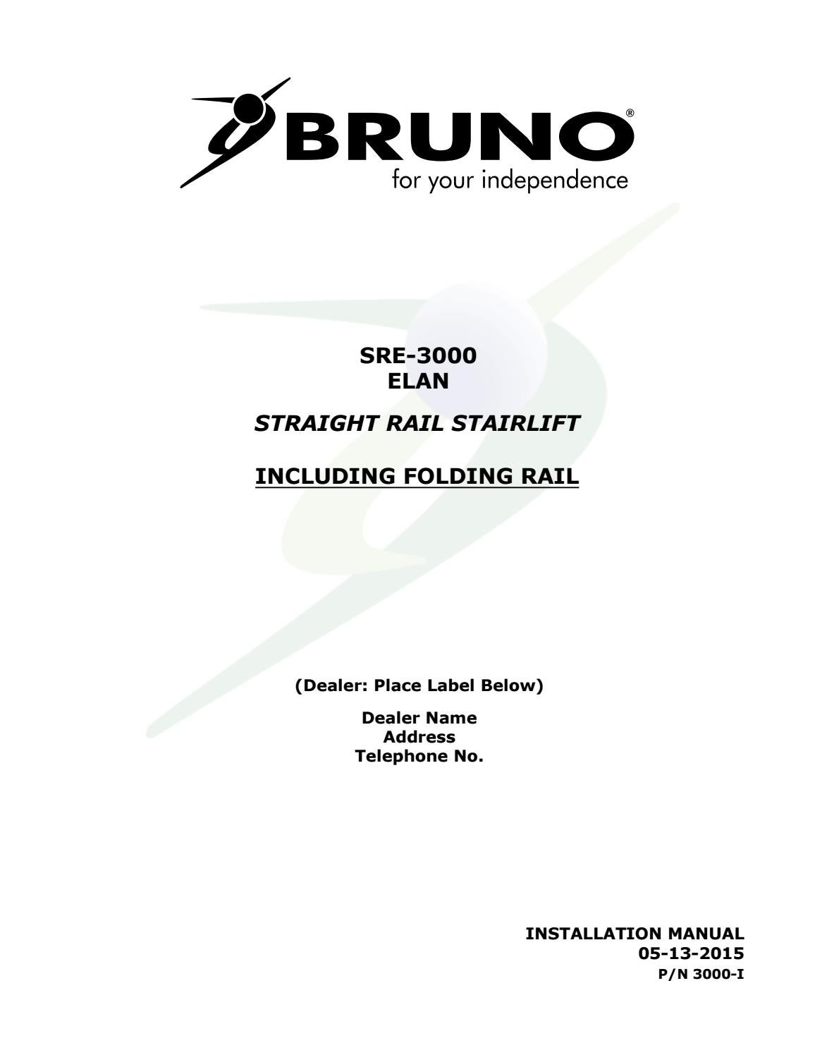 chair lift wiring schematic bruno sre 3000 installation manual stair lift by b manual issuu  bruno sre 3000 installation manual