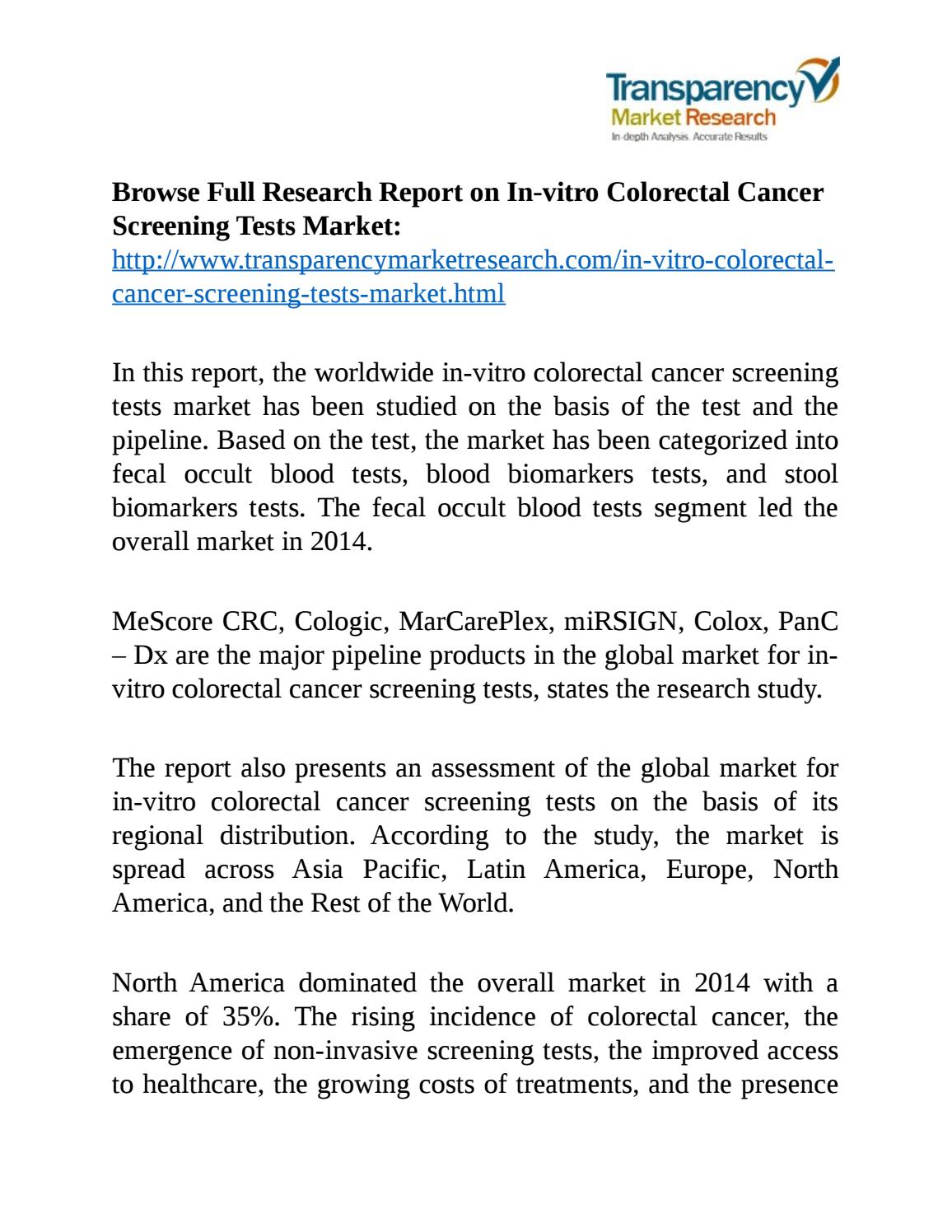 In Vitro Colorectal Cancer Screening Tests Market By Markettrends Issuu