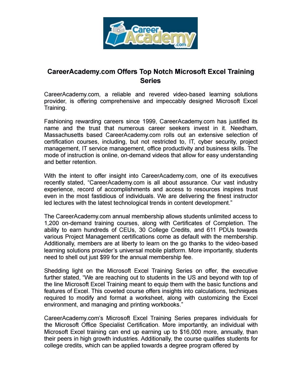 Careeracademy com offers top notch microsoft excel training series careeracademy com offers top notch microsoft excel training series by careeracademy issuu 1betcityfo Gallery