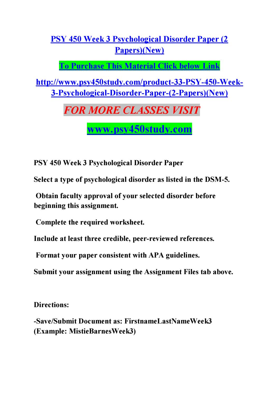 psychological disorder paper Commonly hoarded items may be newspapers, magazines, paper and plastic  bags,  hoarding is a disorder that may be present on its own or as a symptom of .