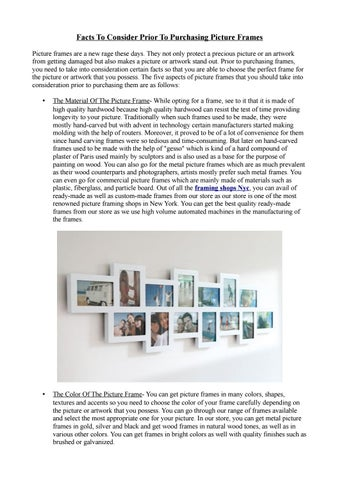 Facts to consider prior to purchasing picture frames by frameartnyc ...