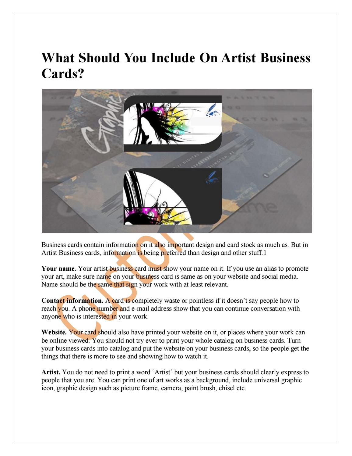 What should you include on artist business cards by shern nguyen issuu colourmoves
