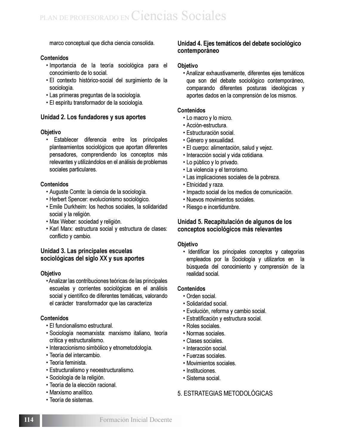 Plan De Estudio De Profesorado En Ciencias Sociales By