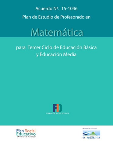 Plan de estudio de Profesorado en Matemática by Biblioteca \