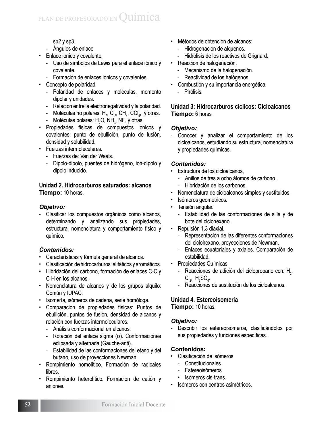 Plan De Estudio De Profesorado En Quimica By Biblioteca