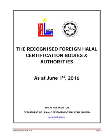 Recognized Foreign Halal Cert Bodies 01062016 by aizeck_at - issuu